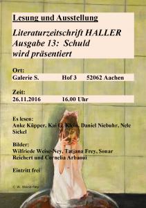 Flyer zur Lesung Haller 13
